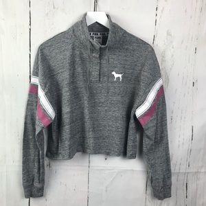 Victoria's Secret Pink Crop Sweatshirt Dog Logo